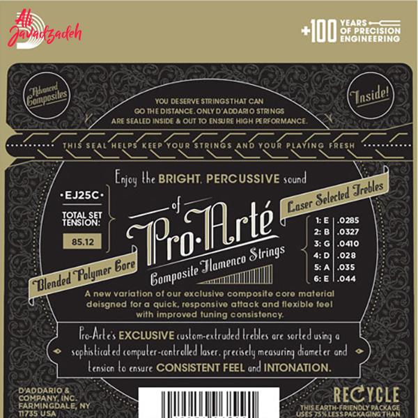 سیم گیتار کلاسیک داداریو مدل EJ25C Clear Nylon Composite