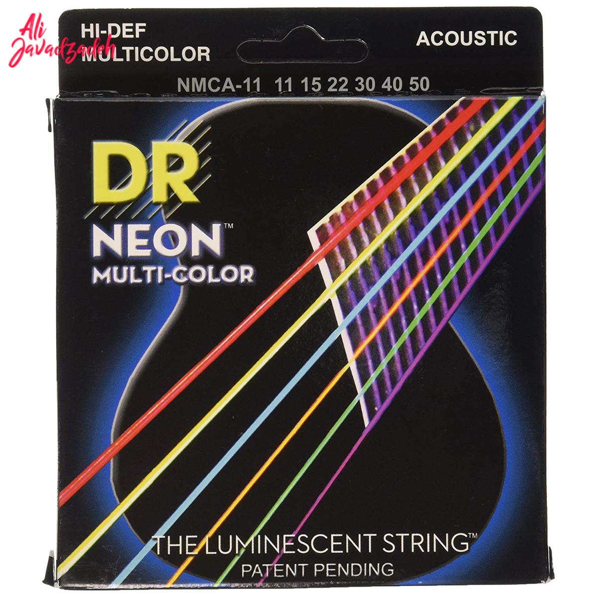 سیم گیتار آکوستیک دی آر مدل نئون رنگی