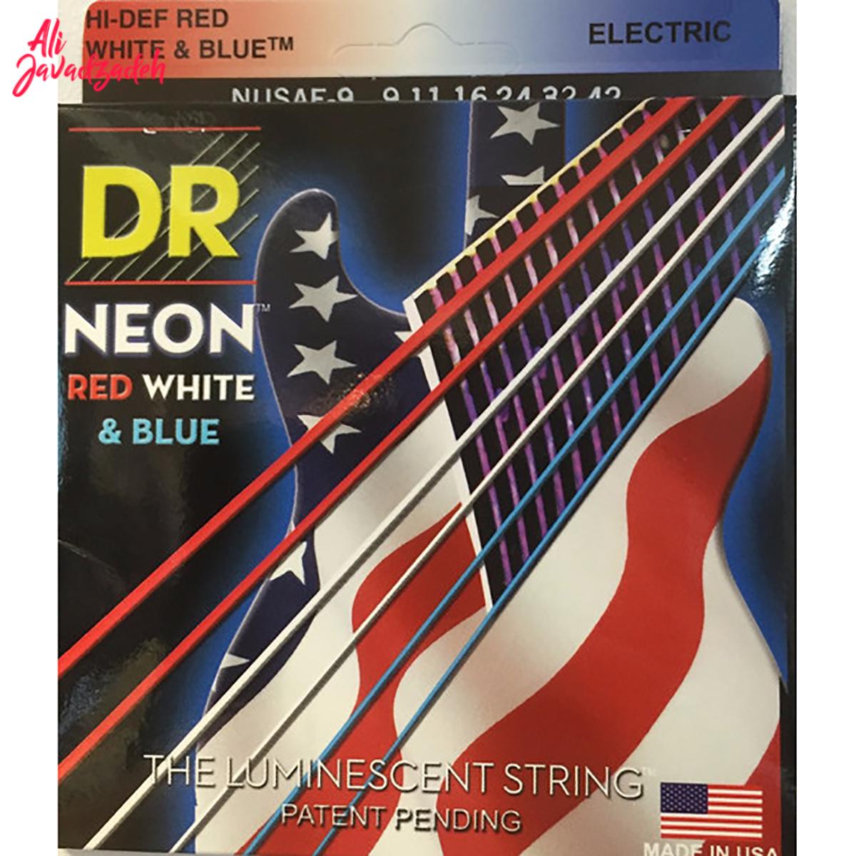 سیم گیتار الکتریک دی آر مدل نئون قرمز سفید آبی
